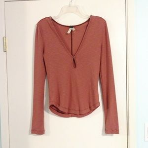 Free People Pink Thermal with Teardrop Cutout
